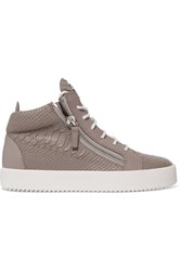 Giuseppe Zanotti Kriss Croc Effect Leather High Top Sneakers Mushroom