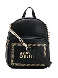 Versace Jeans Couture Logo Print Chain Strap Backpack Black