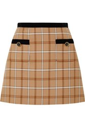 Miu Miu Velvet Trimmed Checked Woven Mini Skirt Beige