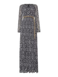 Michael Kors Longsleeve Tapestry Pattern Maxi Dress Navy