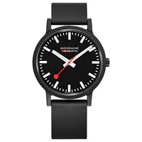 Mondaine Unisex Essence Rubber Strap Watch Black