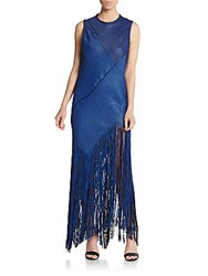 Proenza Schouler Fringe Woven Asymmetrical Maxi Dress Blue