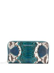 Orciani Naponos Snakeskin Effect Wallet Blue