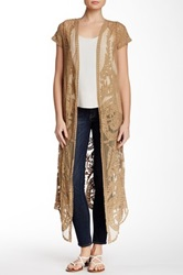 Bobeau Short Sleeve Mesh Lace Duster Brown