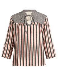 Ace And Jig Constance Striped Cotton Top Red Multi