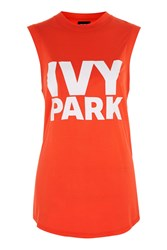Topshop Drop Armhole Tank By Ivy Park Tomato