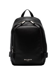 Balmain Black Logo Embossed Leather Backpack