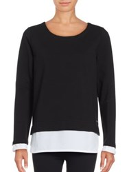 Marc New York Mock Layer Pullover Black White