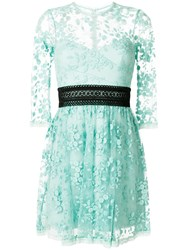 Three Floor Reflection Lace Empire Dress Cotton Polyamide Polyester Green