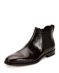 Salvatore Ferragamo Giotto Polished Calfskin Chelsea Boot Dark Brown