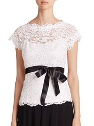 Teri Jon By Rickie Freeman Lace Belted Blouse Ivory Black