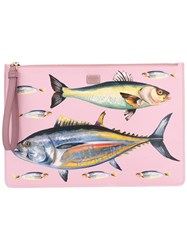 Dolce And Gabbana Fish Print Clutch Pink Purple