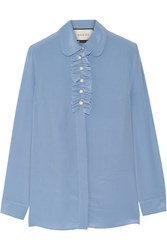 Gucci Faux Pearl Embellished Ruffle Trimed Silk Crepe De Chine Blouse Sky Blue