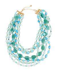 Lydell Nyc Multi Row Beaded Necklace Teal