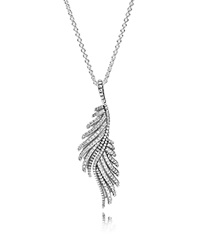Pandora Design Pandora Necklace Sterling Silver And Cubic Zirconia Majestic Feathers 27.5