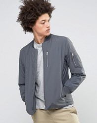 Selected Homme Plus Bomber Jacket With Ma 1 Detail Dark Grey