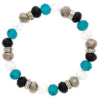 Monet Bead And Crystal Rondel Stretch Bracelet Turquoise Black