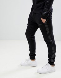 D Struct Jogger With Satin Leg Stripe Black
