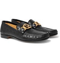 Versace Horsebit Logo Embossed Leather Loafers Black