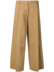 Kiltie Flared Cropped Trousers Brown