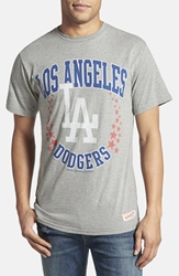 Mitchell And Ness 'Los Angeles Dodgers Shooting Stars' Tailored Fit Graphic T Shirt Heather Grey