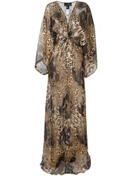 Philipp Plein Patterned Long Dress Brown