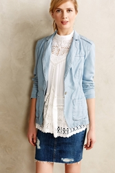Pilcro Newsy Chambray Blazer Light Denim