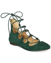 Nine West Signmeup Lace Up Flats Women's Shoes Winter Hunter Suede