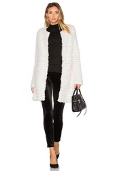 Adrienne Landau Knit Rabbit Fur Coat White
