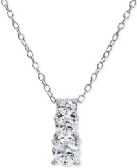 Giani Bernini Cubic Zirconia Graduated 18 Pendant Necklace In Sterling Silver Created For Macy's