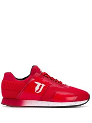 Trussardi Jeans Low Lace Up Sneakers Red
