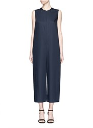Ms Min Raw Edge Wool Sleeveless Jumpsuit Blue