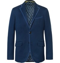 Etro Blue Slim Fit Textured Cotton Blazer Navy
