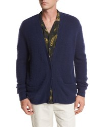 Vince Textured Wool Cashmere Cardigan Navy