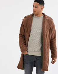 Only And Sons Teddy Over Coat In Tan