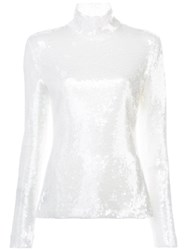 Sally Lapointe Sequin Embellished Top White