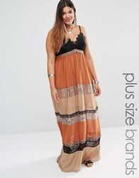 Alice And You Mixed Print Lace Insert Maxi Dress Multi