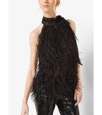 Ostrich Feather And Point D'esprit Sleeveless Bow Blouse