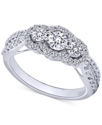 Macy's Diamond Three Stone Ring In 14K White Gold 1 Ct. T.W.