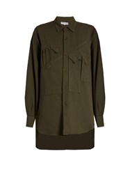 Katharine Hamnett At Ymc Multi Patch Pocket Cotton Shirt Khaki