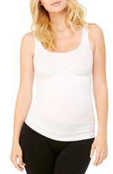 Ingrid And Isabelr Women's Isabel Seamless Ruched Maternity Tank White