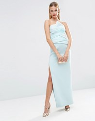 Asos Red Carpet Premium Organza Fold Bonded Scuba Bandeau Pencil Maxi Dress Mint Green