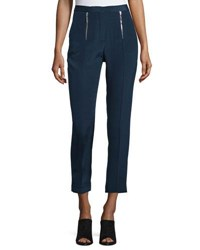 Cnc Costume National Zip Front Slim Leg Cropped Trousers Navy