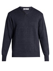 Inis Meain Hurler V Neck Linen Sweater Navy