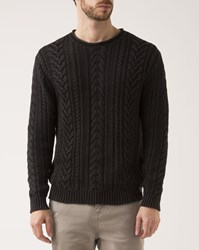 Denim And Supply Ralph Lauren Black Faded Cable Knit Cotton Sweater