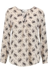 Joie Deon B Tossed Bouquet Printed Washed Silk Blouse Beige