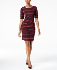 Connected Petite Printed Tiered Sheath Dress Wne