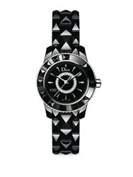 Christian Dior Dior Viii Diamond And Black Ceramic Bracelet Watch