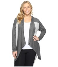 Marika Plus Size Ruby Long Sleeve Cardigan Heather Charcoal Women's Sweater Gray