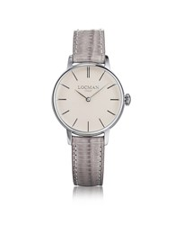 Locman 1960 Silver Stainless Steel Women's Watch W Light Purple Croco Embossed Leather Strap